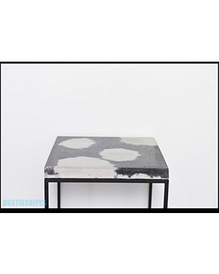 Cowhide Concrete Cube Concrete Topped Side Table End Table Nightstand - patrick cain designs