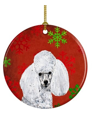 Toy Poodle Snowflakes Holiday Ceramic Hanging Figurine Ornament - the holiday aisle