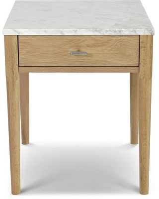 Alto 22 in Carrara Square Italian Marble Side Table with Oak Legs - andmakers