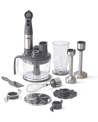 Chef Series Deluxe Immersion Hand Blender 5 Speed Stick Blender with Stainless Steel Blades Dough Hooks Food Processor Grate Mash Slice Whisk Attachments and Recipe Guide - dash
