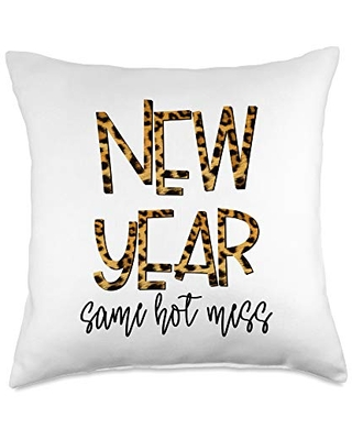 2021 Humor By Clousky Co. New Year Same Hot Mess Funny 2021 Eve Party Leopard Throw Pillow, 18x18, Multicolor