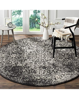 """SAFAVIEH Evoke Collection EVK256R Oriental Distressed Non-Shedding Dining Room Entryway Foyer Living Room Bedroom Area Rug, 6'7"""" x 6'7"""" Round, Black / Grey"""