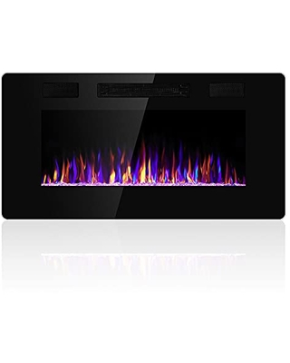 36 inches Electric Fireplace Recessed and Wall Mounted Electric Fireplace Fireplace Heater and Linear Fireplace with Timer Remote Control Adjustable Flame Color 750w 1500w - electactic