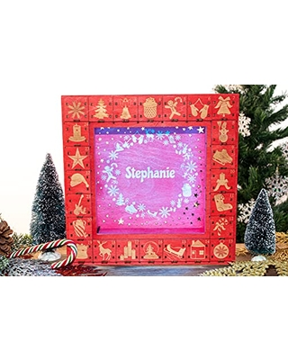 Advent Calendar Christmas Wooden Personalized Christmas Calendar Square Shape 24 Engraved Drawers Countdown 2021 LED Light - favncrafts