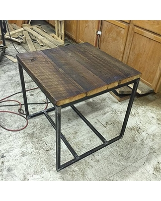 Reclaimed wood and metal end table - hudson industrial