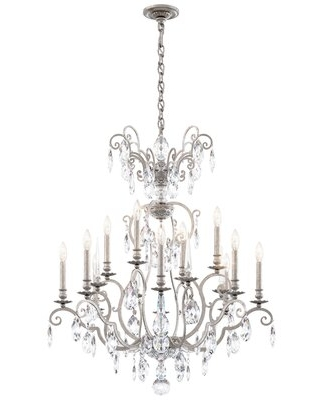12 Light Candle Candle Style Classic Traditional Chandelier with Crystal Accents - schonbek