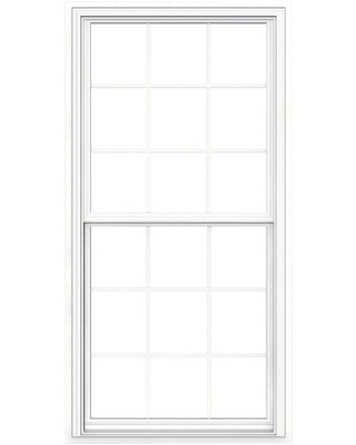 JELD-WEN V-2500 35.5-in x 71.5-in x 2.905-in Jamb Vinyl New Construction Egress White Double Hung Window Full ENERGY STAR Northern Zone ENERGY STAR