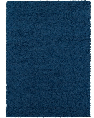 Ottomanson Shag Collection Contemporary Solid Navy 5 ft. x 7 ft. Area Rug, Blue