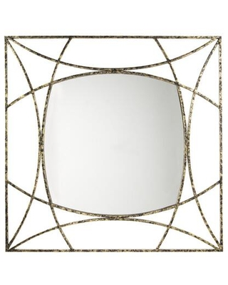 """Keita Collection A8010175 42"""" Accent Mirror with Keyhole Bracket for Hanging Made of Metal and Glass in Black/Gold"""