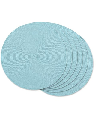Classic Woven Tabletop Collection Indoor Outdoor Placemat Set Round iameter 6 Piece - dii