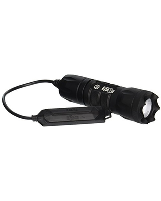 A315 Alpha 1 Cell Flashlight with Crenellated Bezel Ring Standard Lens Remote Tape Switch with Cable - elzetta