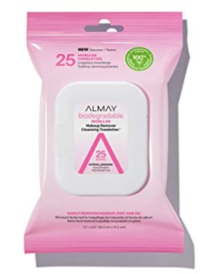 Makeup Remover Cleansing Towelettes Biodegradable Micellar Water Wipes for Sensitive Skin Hypoallergenic Cruelty Free Fragrance Free 25 Count - almay