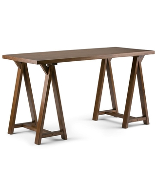 56 in Rectangular Medium Saddle Writing Desk with Solid Wood Material - brooklyn + max