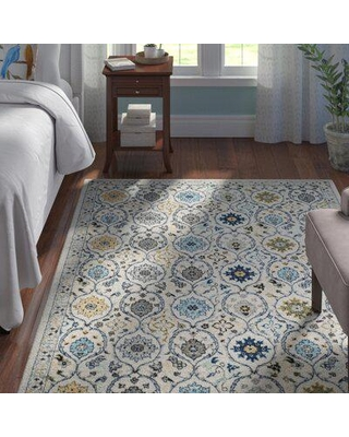Andover Mills™ Aegean Floral Ivory/Blue Area Rug Polyester/Polypropylene/Cotton/Jute & Sisal in White, Size 36.0 W x 0.37 D in | Wayfair