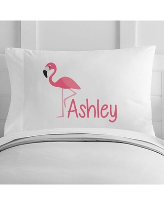 Personalized Flamingo Toddler Pillow Case - 4 wooden shoes
