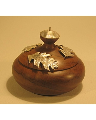 Lidded container made of imbuya wood with three sterling leaves on lid - alchemy works