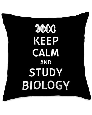 Keep Calm and Study Biology Throw Pillow 18x18 - biology lover gifts