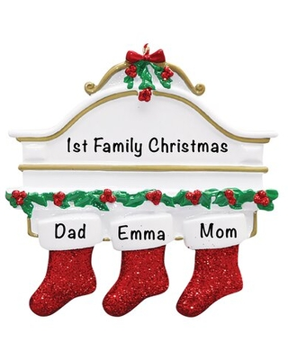 Stockings Family of 3 Holiday Shaped Ornament - the holiday aisle