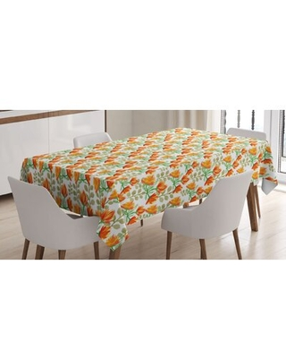 Charming Blossom Garden Field Spring Branches Watercolor Artwork Tablecloth - east urban home