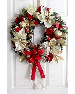 Christmas wreath poinsettias and hydrangea for front door - leoparddesigns