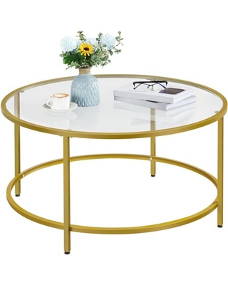 Round Glass Top Coffee Table Metal Framed End Table - easyfashion