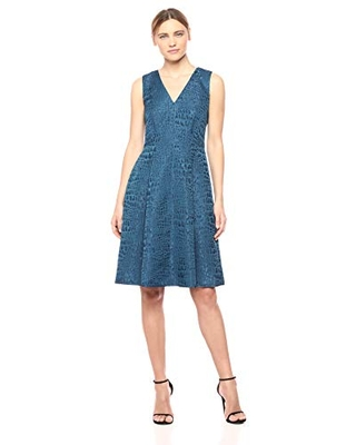 Women's Sleeveless Vneck FIT and Flare Dress - anne klein
