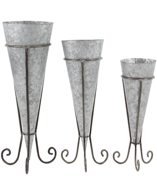 Farmhouse Cone Shaped Iron Planters with Stand - olivia & may