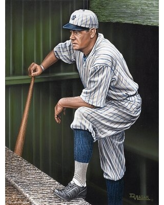 Babe Ruth Top Step Artwork by Darryl Vlasak Painting Print on Wrapped Canvas - buy art for less