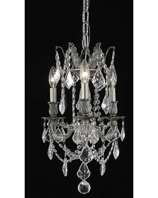 Utica 3 Light Candle Style Classic Traditional Chandelier with Crystal Accents - astoria grand