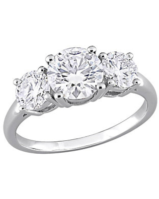 Moissanite 15 cttw 3 Stone Ring Sterling Sil ver - qvc