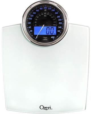 Rev 400 lbs Digital Bathroom Scale with Electro Mechanical Weight Dial and 50 g Sensor Technology - ozeri