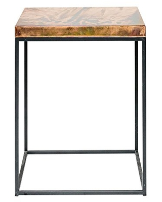 Cube Shaped Side End Table Nightstand or Stool Aging Copper on Industrial Steel Frame - patrick cain designs