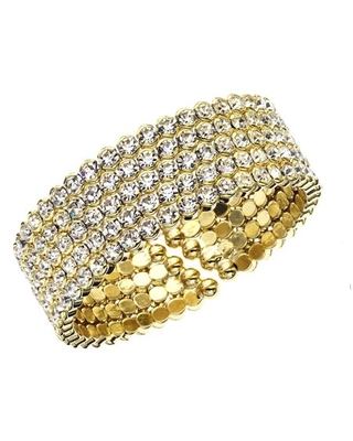 14kt Plated Five Row Honeycomb Cuff Bracelet - x and o