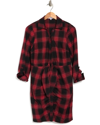 Scottie Plaid Flannel Shirtdress Multi at Nordstrom Rack - likely