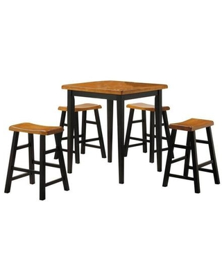 Gaucho Collection 07285 5 PC Dining Set with Counter Height Table 4 Counter Height Stools Saddle Seat and Solid Rubberwood Materials in Oak and - acme furniture