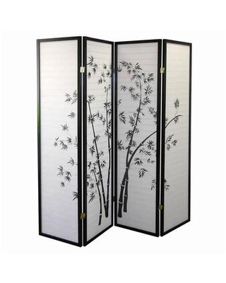 BM96095 Wood and Paper 4 Panel Room Divider with Bamboo Print and - benzara