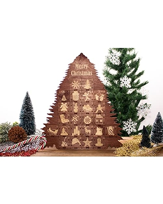 Christmas Tree Advent Calendar Wooden Personalized Christmas Calendar Christmas Tree Shape 24 Engraved Drawers Countdown 2021 - favncrafts