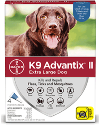 Flea and Tick Treatment for Extra Large Dogs 4 Monthly Treatments - k9 advantix ii