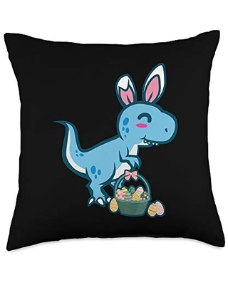 Cute T Rex Dinosaur Bunny Egg Hunting Funny Easter Throw Pillow 18x18 - easter holiday design apparel gifts
