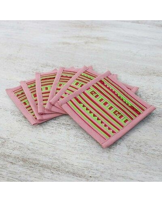 Foundry Select Lahu Pink Cotton Blend Coasters Set Of 6, Size 0.1 H x 0.1 D in   Wayfair 311178