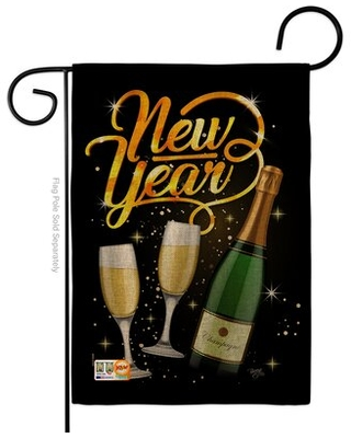 Cheers to Happy New Year Impressions 2 Sided Burlap 5 x 13 in Garden Flag - breeze decor