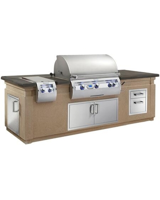 Echelon Diamond Series Outdoor Kitchen Island Package with E790I4E1P Liquid Propane Grill 32814P Sideburner 53802 ouble Drawer 33938S - fire magic