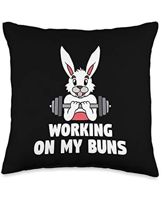 Working On My Buns Easter Bunny Gym Workout Fitness Rabbit Throw Pillow 16x16 - bcc happy easter shirts & egg hunt basket stuffer