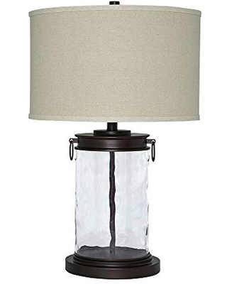 Drum Shade Table Lamp with Glass Insert Base - benjara
