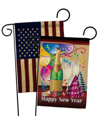 Breeze Decor Happy New Year Garden Flags Pack Winter Yard Banner 13 X 18.5 Inches Double-Sided Decorative Home Decor, Size 18.5 H x 13.0 W in