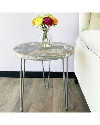 Reclaimed Wood Round End Table - union rustic