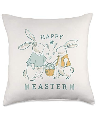 Cute Rabbits with Easter Eggs Throw Pillow 18x18 - cute easter bunny designs for egg hunt
