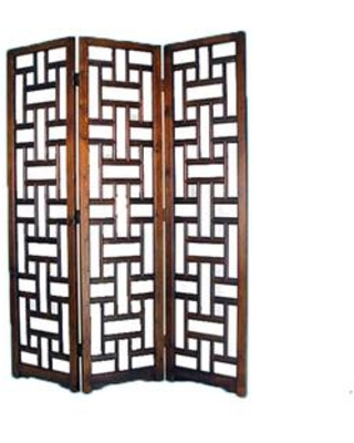 BM213481 Wooden 3 Panel Room Divider with Cut Out Rectangle Pattern - benzara