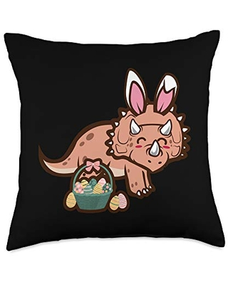 Triceratops Dinosaur Bunny Egg Hunting Funny Easter Throw Pillow 18x18 - easter holiday design apparel gifts
