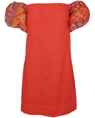 Women's Recycled Cotton Off Shoulders Mini Linen Dress With Embroide Puff Sleeves Coral Reef Medium - haris cotton